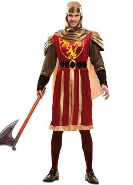 Disfraz de Rey Cruzado rojo medieval para hombre