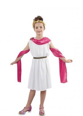Disfraz de Romana blanca y rosa para niña