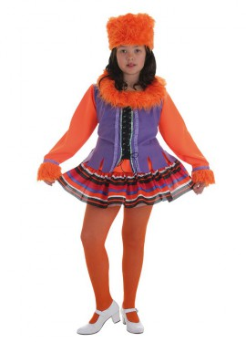 Disfraz de Rusa naranja y morado para niña