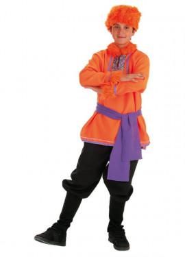 Disfraz de Ruso naranja y morado para niño