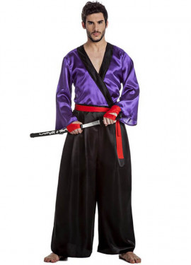 rojo negro m 4 pzas Samurai Ninja disfraz muscular Camisa Caballero