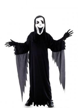 Disfraz de Scream con flecos grises para niño
