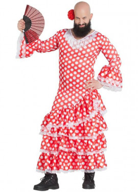 Disfraz de Sevillana con Topos para hombre