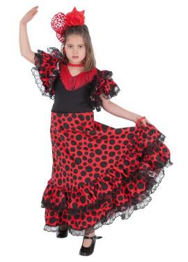 Disfraz de Sevillana roja y negra para niña