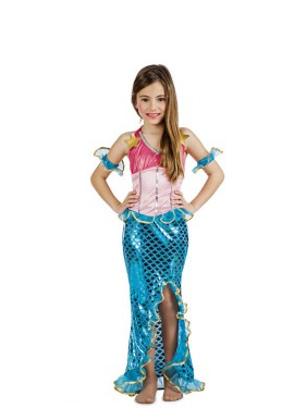 Disfraz de Sirena Coral para niña