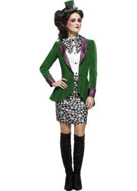 Disfraz de Sombrerera Loca Verde para mujer