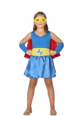 Disfraz de Súper Heroína Azul para niña