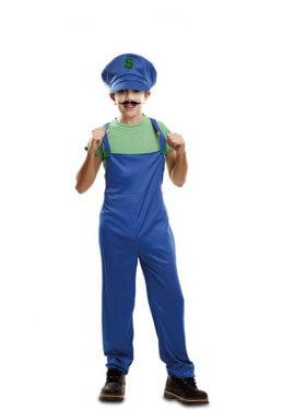 Disfraz de Super Plumber verde para niño