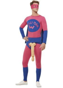 Costume da uomo blu e rosa Super Willyman