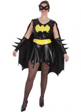 Costume da supereroina nero e giallo per donna