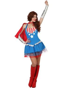 Disfraz de Superheroína sexy con capa para mujer