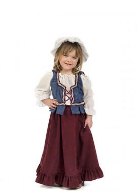 Disfraz de Tabernera Medieval Granate para niña y bebé