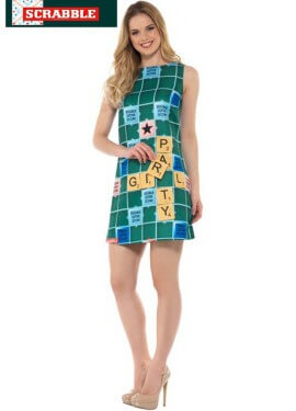 Disfraz de Tablero de Scrabble Verde para mujer