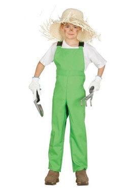 Disfraz de trabajador con mono verde para niño