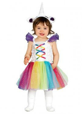 Disfraz de Unicornio Multicolor con tutú para bebé