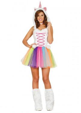 Disfraz de Unicornio Multicolor con tutú para mujer