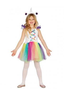 Disfraz de Unicornio Multicolor con tutú para niña
