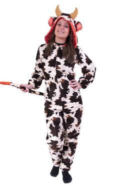 Disfraz de Vaca con capucha Flúor Naranja para adultos