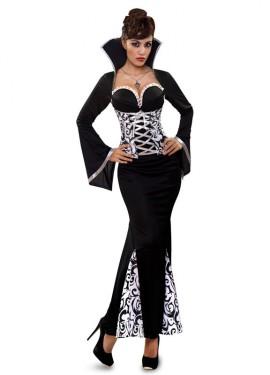 Disfraz de Vampiresa Blanco y Negro para mujer talla M-L