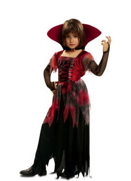 Disfraz de Vampiresa Gótica con cuello alzado para niña
