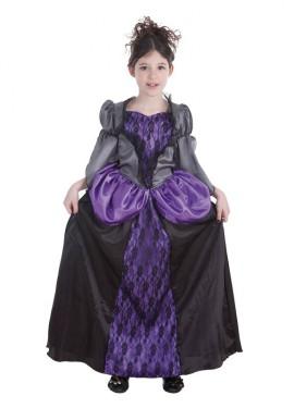 Disfraz de Vampiresa gótica malva para niña