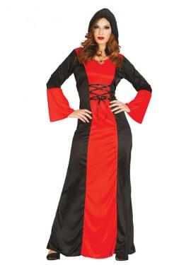Disfraz de Vampiresa rojo y negro para mujer