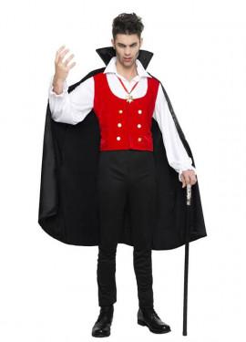 Déguisement de Vampire ou Comte Dracula avec cape pour homme.