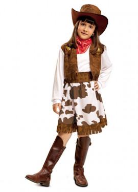 Disfraz de Vaquera blanco y marrón para niña