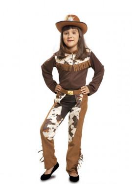 Disfraz de Vaquera marrón para niña