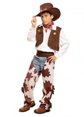 Disfraz de Vaquera blanco y marrón para niña a9b1a006efb