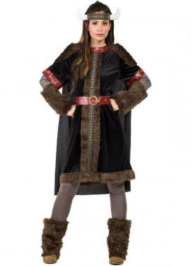 Costume da vichingo scuro per donna
