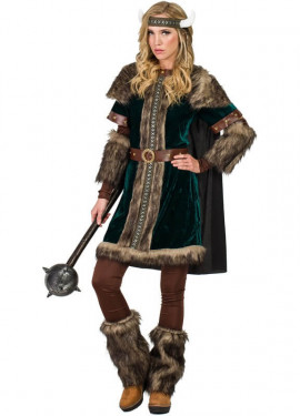 Disfraz de Vikinga Verde para mujer