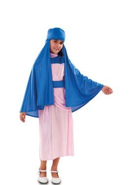 Disfraz de Virgen azul y rosa para niña