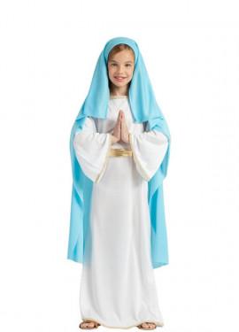 Disfraz de Virgen María con Velo para niña