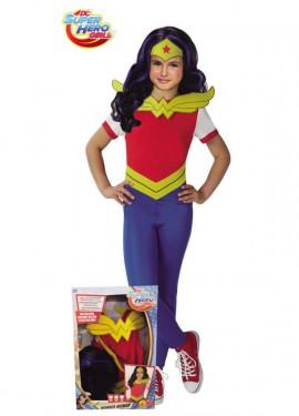 Disfraz de Wonder Woman con Peluca en Caja para niña