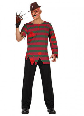 Disfraz del Asesino Freddy a rayas para hombre