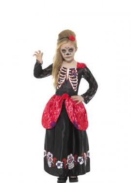 Disfraz del Día de los Muertos Rojo para niña