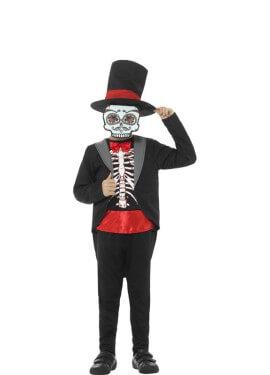 Disfraz del Día de los Muertos Rojo para niño