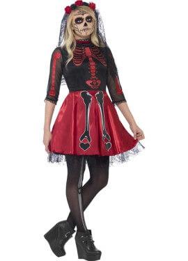 Disfraz del Día de Muertos Rojo para mujer