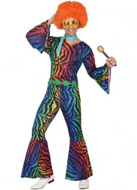 Disfraz Disco con estampado multicolor para hombre