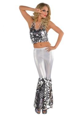 Disfraz Disco plateado con lentejuelas para mujer en talla M-L