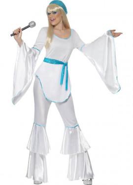 Disfraz Disco Super Trouper Blanco-Azul para Mujer