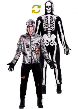 Costume doppio da Zombi e scheletro per adulti