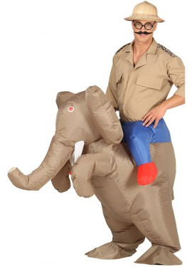 Disfraz Hinchable Cazador a hombros de Elefante para adultos