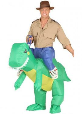 Disfraz Hinchable Cazador a hombros de Raptor para adultos