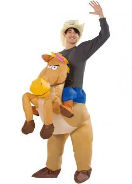 Déguisement Gonflable Carry Me Cowboy et Cheval pour adulte
