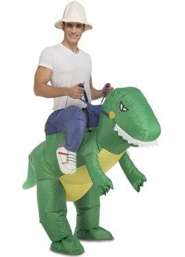 Disfraz Hinchable Explorador a hombros de Dinosaurio para adultos