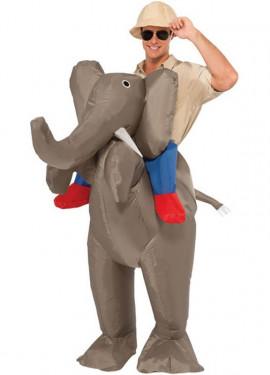 Disfraz Hinchable Explorador a hombros de Elefante para adultos