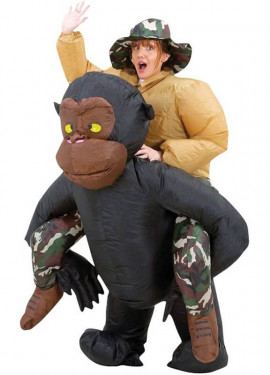 Déguisement Gonflable Carry Me Singe et Explorateur pour adulte
