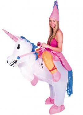Disfraz Hinchable Hada montando Unicornio para adultos
